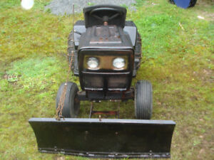 Lawn tractor with plow