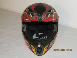 *ZOX* Vented Dirt Bike Helmet w/Visor - Size Med - Orange Flames