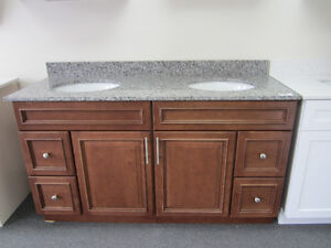vanity, kitchen cabinet, backsplash,range hood,sink, faucet...