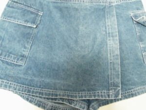 "DENIM SHORTS WITH FRONT FLAP FOR 'SKIRT"" LOOK--VERY FLATTERING!"