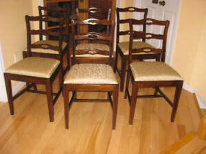 Mint Cond. Antique Ladder Back Dining Chairs. Duncan Phyfe Table