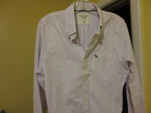 Abercrombie & Fitch Stripe Muscle Medium Dress Shirt