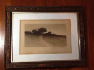 Antique 1886 Etching by Artist Henry Pruett Share - Signed
