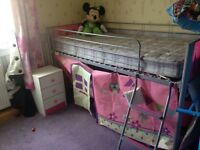 Girls mid sleeper & mattress