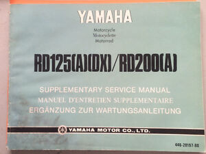 1975 Yamaha RD125 RD200 Supplementary Service Manual