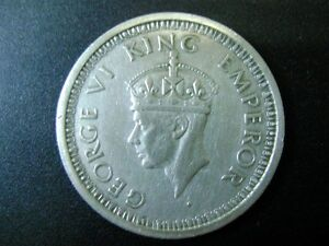 BRITISH INDIA - KING GEORGE VI - ONE RUPEE SILVER COIN 1944