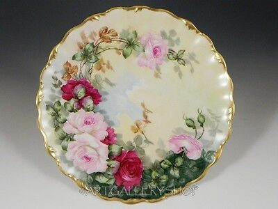 Antique Limoges France HANDPAINTED FLOWER ROSES PLATE CHARGER GOLD GILDED Signed