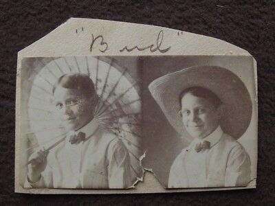 YOUNG BOY WITH PARASOL & LARGE STRAW COWBOY HAT Vtg 1910's PHOTO BOOTH PHOTO (Cowboy Photobooth)