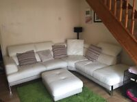 Snow Leather Corner Suite Sofa with footstall