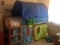 IKEA midsleeper with tent and underbed den curtains