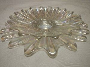 Fostoria Celestial Iridescent Clear Carnival Glass Dishes Bowls