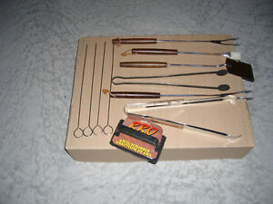 5 Piece BBQ Tools, 4 Steel Skewers and New Grill Scrubber Brush
