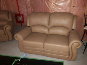 Beige Set Of Leather Reclining Couches