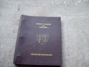 1-CARTABLE EN CUIR BRUN,EXTERNAT CLASSIQUE DE LONGUEUIL,ANTIQUE.