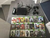 Xbox 360 Elite console with wireless internet adapter, 2 controllers, charger and 21 games