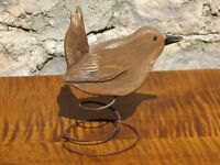Hand Carved and Painted Wooden House Wren on Wire Spring
