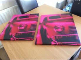 2 x pink canvas pictures
