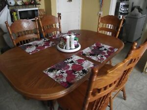 Large Wooden Table and 5 Chairs