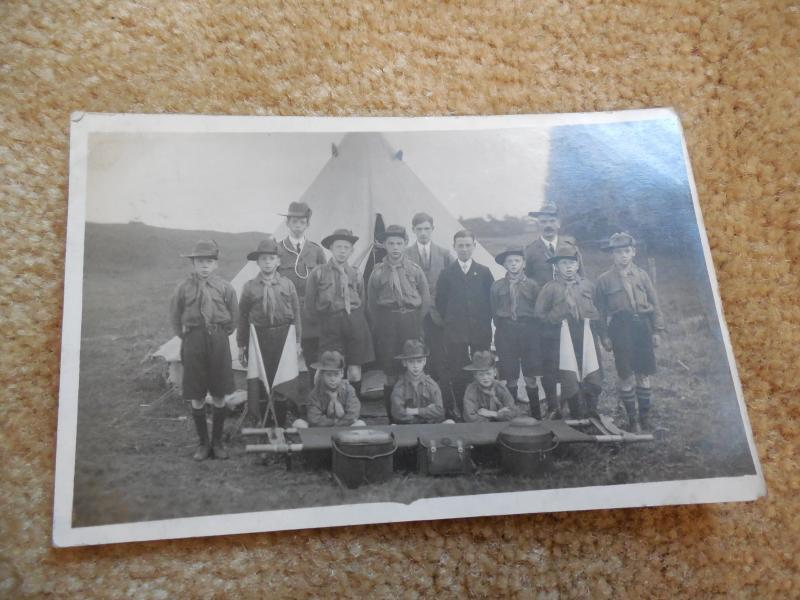 Vintage 1943 British England Boy Scout Camping Troop Photo RPPC Postcard #36