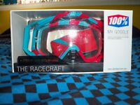 100% Racecraft Supersonic mx goggles with 9 tear-offs