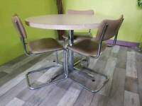 Formica Top Kitchen Table & 3 Chairs For Reupholstery Project - Can Deliver For £19