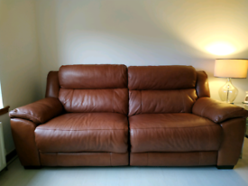 Tan Leather 3 + 2 Electric Reclining