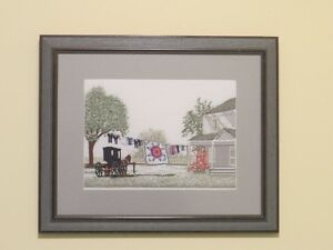 Framed Needlepoint picture - winter and summer Amish scenes