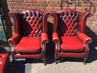 Pair of wingback Chesterfield armchairs vintage retro leather