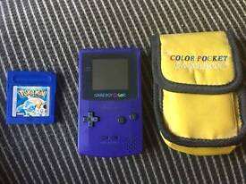 Game boy Colour with Pokemon Blue and Case