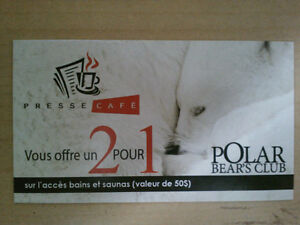 Coupons 2 for 1 at Polar Bear spa in the Laurentides