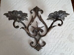 vintage iron wall mounted candle holder
