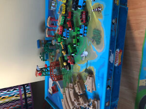 Thomas the train table and wooden trains