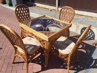 Cane table 4 Chairs