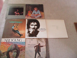 Vintage 7 LOT of Neil Young/ Gordon Lightfoot/James Taylor LP's