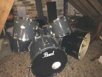 6 piece Pearl drum kit. Double bass
