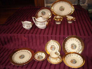 set de vaisselle antique ancien dish set 22kt/ royal albert 1150