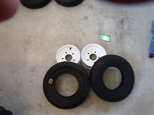 5 bolt trailer rims with 2 new tires Kawartha Lakes Peterborough Area image 1