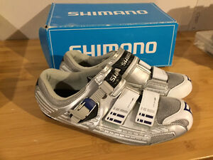 New sliver grey leather Shimano SH-R085 Bike shoes, size 44