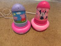 Peppa pig and mini mouse torch/lamps