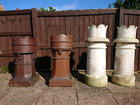 reclaimed X4 Chimney pots old victorian perfect for garden use crown plants furniture
