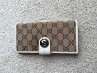 GUCCI cream leather and canvas purse