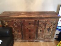 Large solid oak very heavy sideboard & matching coffee table