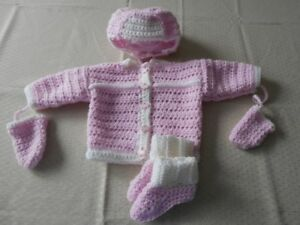 BRAND NEW HAND CROCHETED 3pc AND 4pc BABY SWATER SETS