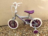 """Girls 11"""" wheel bike with stabilisers"""
