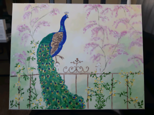 Peacock acrylic painting on canvas