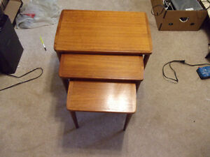 NEW PRICE MID CENTURY TEAK 3 PIECE STACKING TABLES