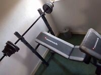 Maxi muscle weight bench plus extras.
