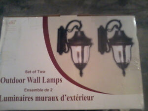 New in box - larger size outdoor garage lights.
