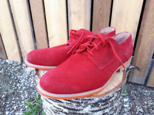 J.D. FISK red suede shoes - like new !