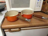 Le Creuset cast iron pans